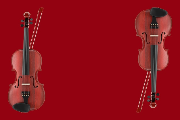 Classical wooden violin with bow on a red background. 3d rendering