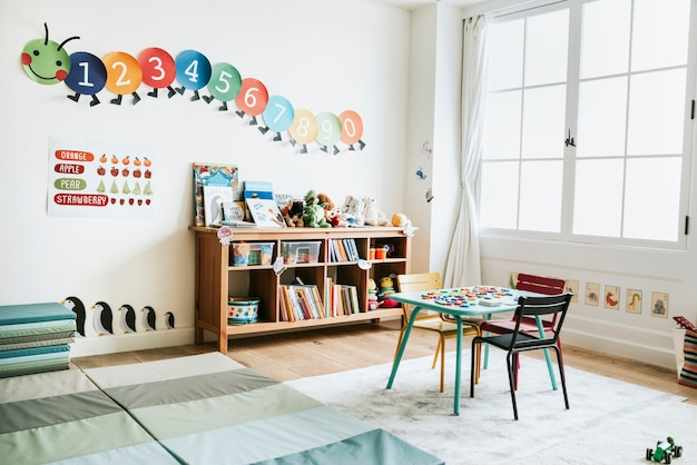Classroom of kindergarten interior design