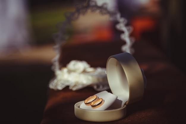 Classy wedding rings sparkle standing in white velvet box