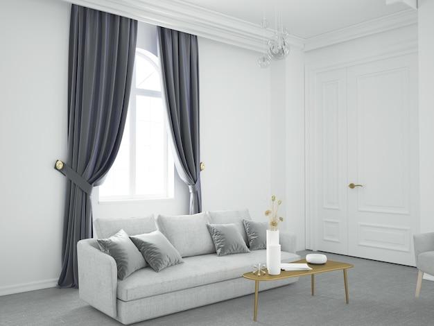 Стильная белая гостиная с серыми бархатными шторами и диваном