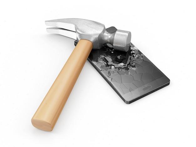 Claw hammer broken a screen of modern black touchscreen smart phone