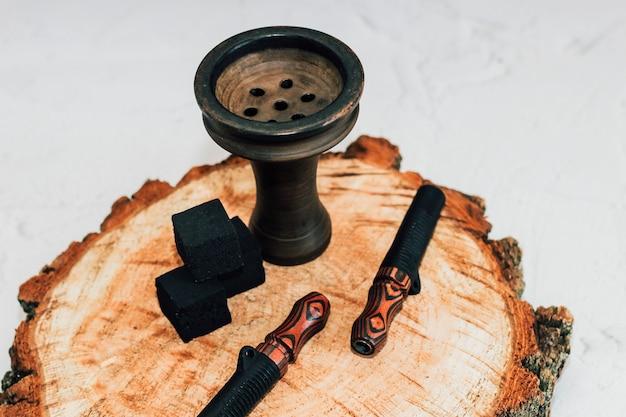 Глиняная чаша для кальяна с кокосовыми углями, мундштуки деревянные