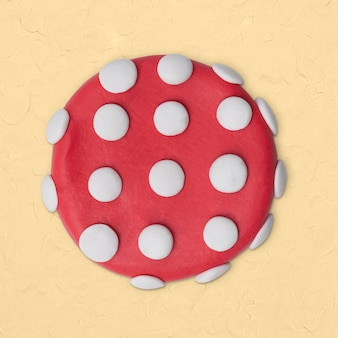 Clay circle dotted shape in pink handmade creative art