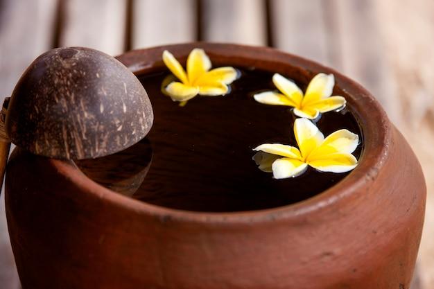 スパ瞑想のために禅スタイルで水入れに飾られた花のプルメリアまたはフランジパニと粘土の水差し...