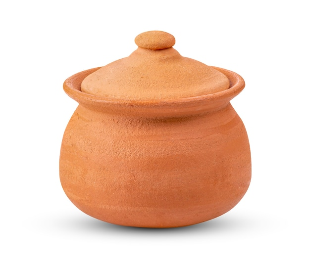 Clay pot isolated on white.