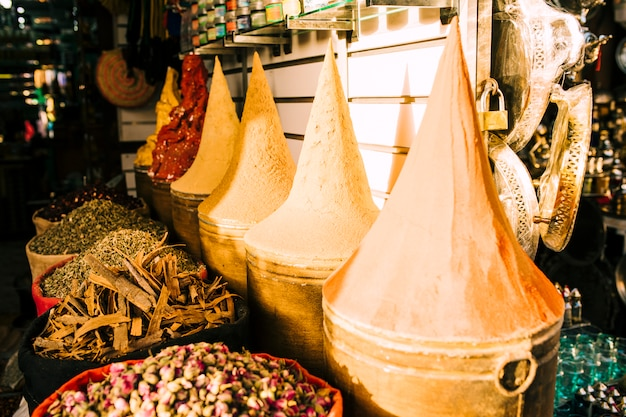 Clay pots on market in morocco