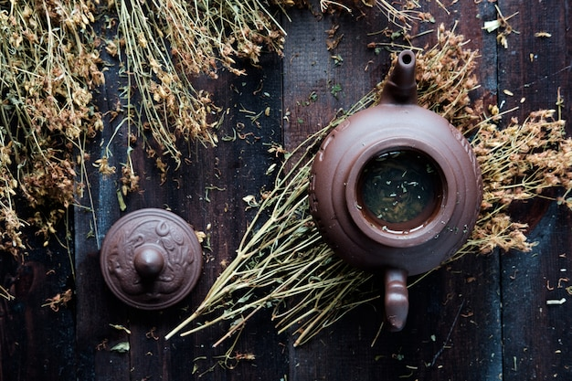 Clay teapot of herbal green tea