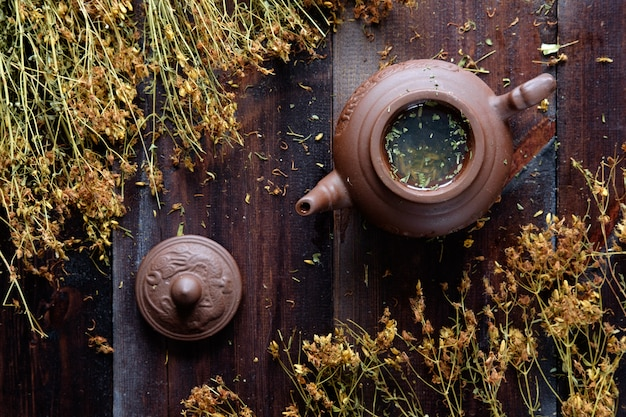 Clay teapot of herbal therapeutic green tea