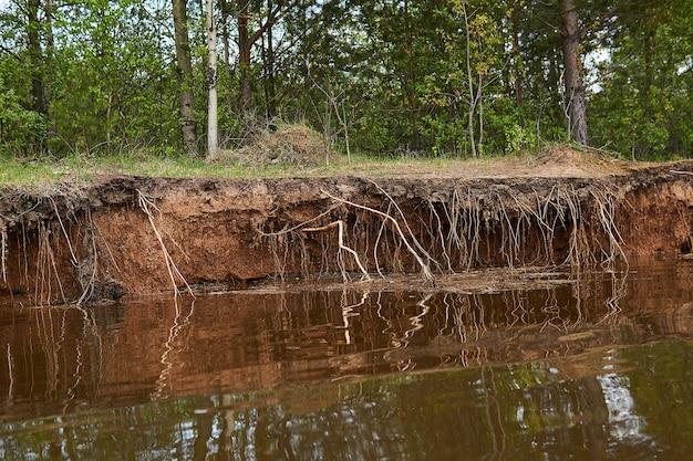 Глинистый берег реки размывается водой во время паводков