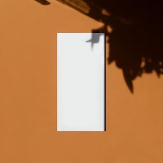 生姜の背景に葉の影が付いたきれいな空白のパンフレットのモックアップ マーケティングのブランドアイデンティティ フラットレイトップビュー テキストを追加