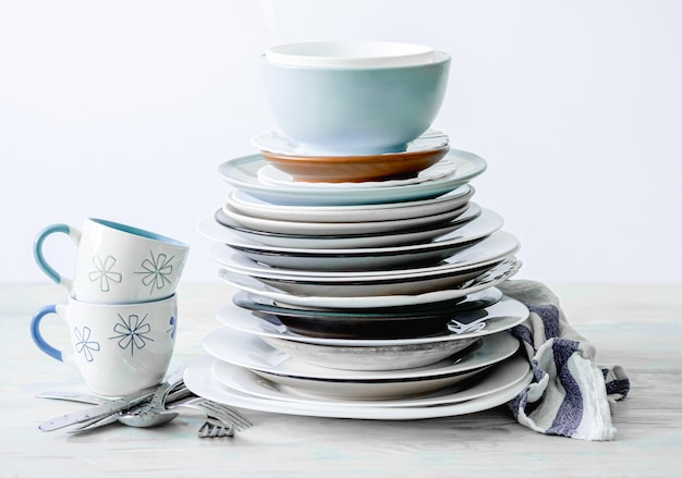 Clean cups and plates