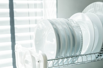 Clean dish on a dish rack