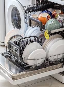 Clean the dishes after washing in dishwasher.