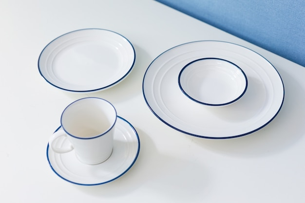 Clean dishware on white