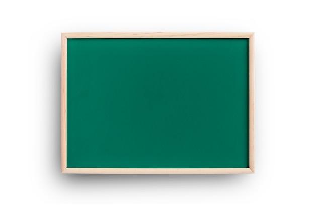 白で隔離のフレームときれいな、空の緑の黒板。