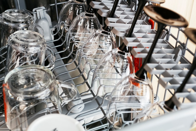 Clean glass cups and glasses after washing in a dishwasher