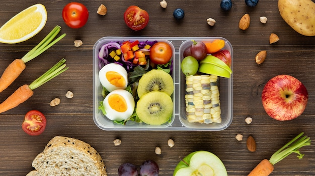 Clean healthy low fat ready to eat food in meal box set