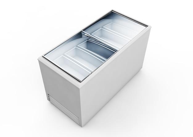 白い背景で隔離のきれいなアイスクリームフリーザーブランク。 3dレンダリング
