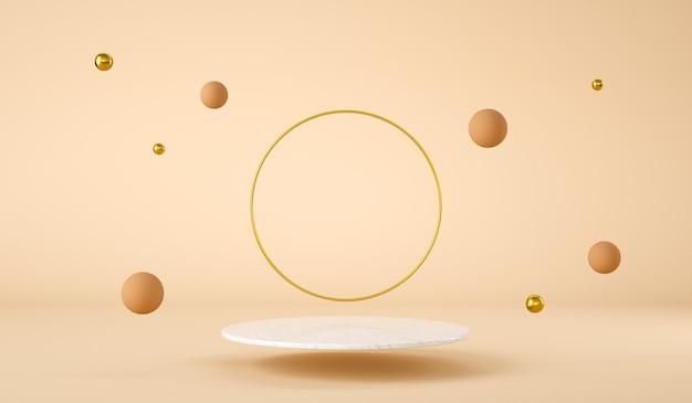 Чистая мраморная платформа, плавающая с золотым кольцом и плавающими сферами, презентация продукта d визуализация