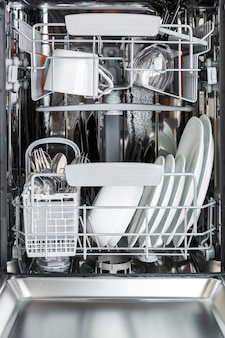 Clean plates, cups, glasses and cutlery in the dishwasher after