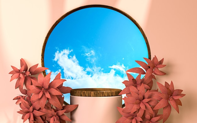 Clean and realistic spring season 3d rendering podium display background for product presentation