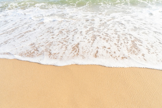 Clean sand texture with sea wave.sea tropical sandy beach for summer background banner
