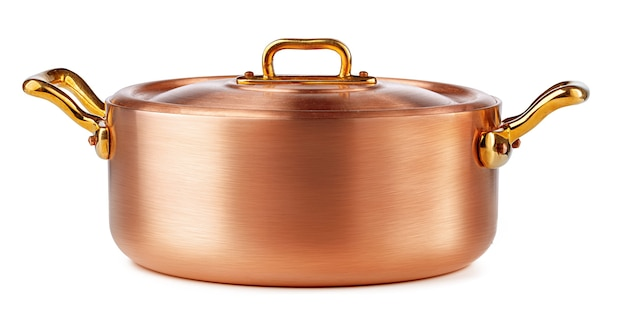 Clean and shiny copper pot isolated on white background