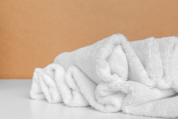 Clean soft towels on color
