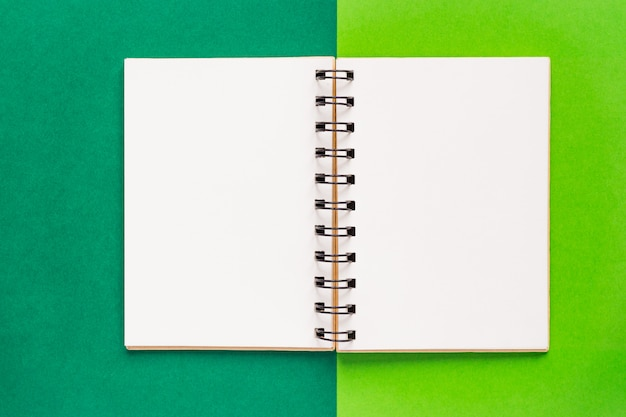 Clean spiral note book for notes and messages on green background. minimal business flat lay