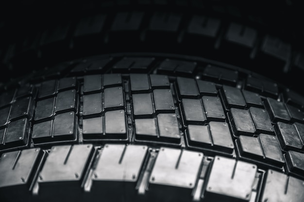Clean truck tyre, black new shiny car tire background