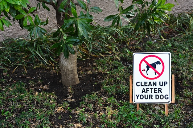 Убирайтесь за знаком вашей собаки под деревом в общественном парке