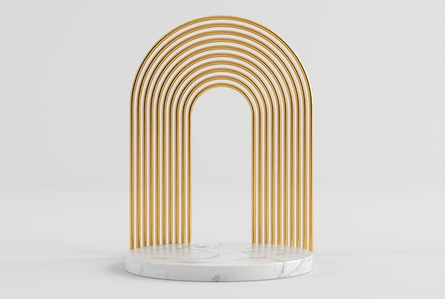Clean white gold product presentation pedestal in gold and marble 3d rendering