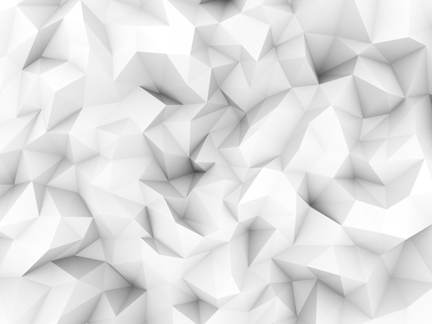 Clean white low polygon background from 3d rendering.