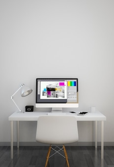 Clean workspace with graphic design software on screen