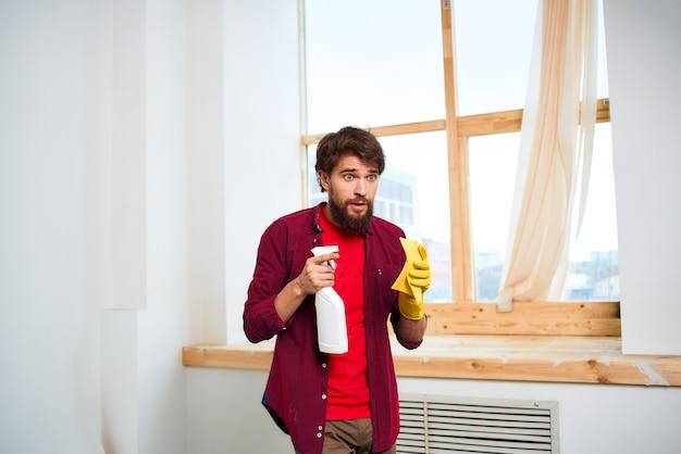 Очиститель резиновые перчатки моющее средство мытье окон стиль жизни профессионал обслуживания