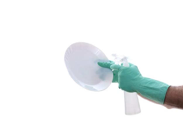 白で隔離された塩素によるスペースの清掃と保護