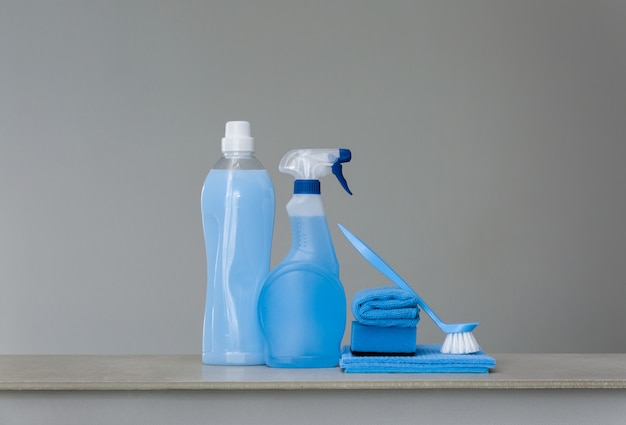 Cleaning blue set on grey