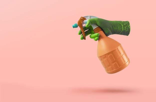 청소 개념. 스프레이 병을 들고 보호 장갑으로 손.