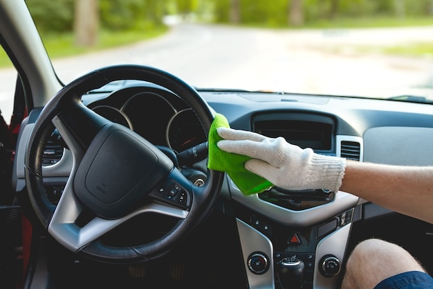 Cleaning the dashboard of the car