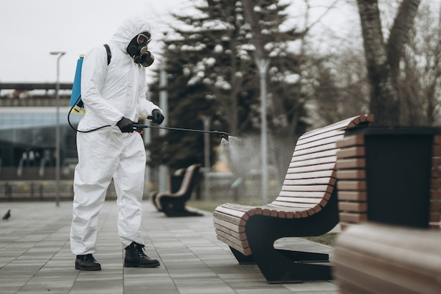 Cleaning and disinfection urban furniture