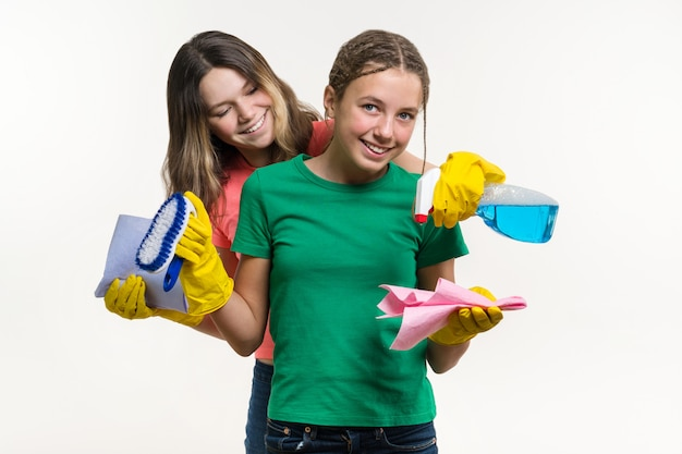 Cleaning, domestic duties and teamwork concept