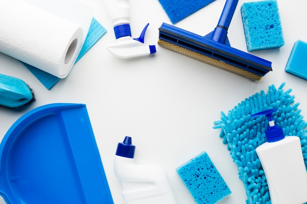 Cleaning equipment on plain background
