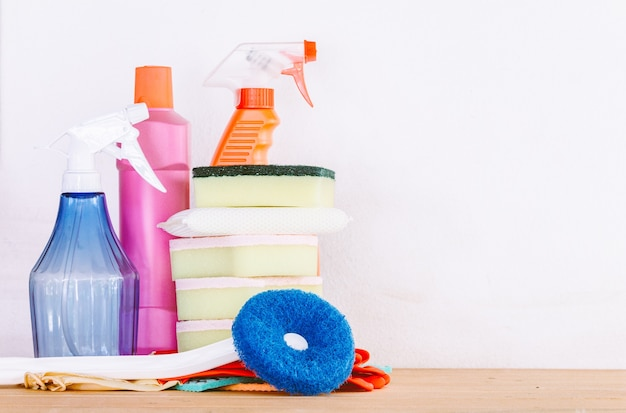 Cleaning items and housework concept