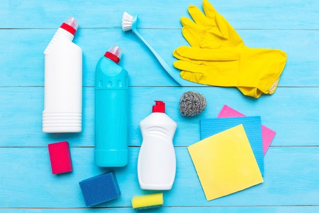 Cleaning products on a blue surface