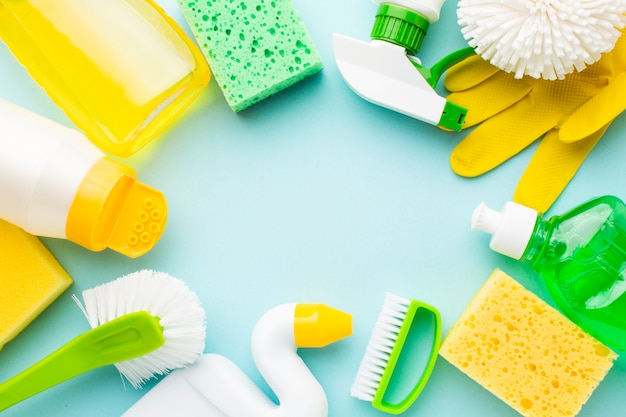 Cleaning products on blue surface