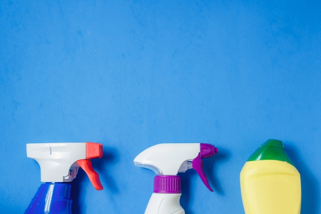 Cleaning products on blue