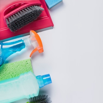 Cleaning products on grey background