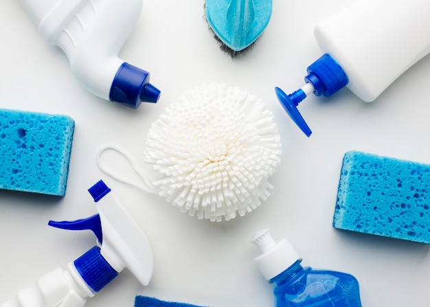 Cleaning products high angle view of