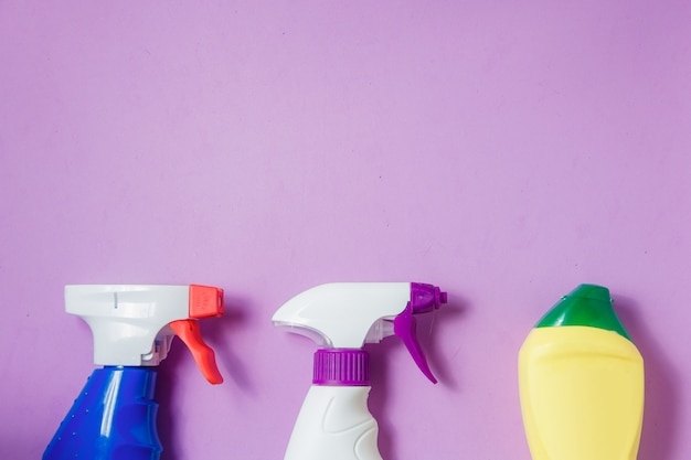 Cleaning products on purple