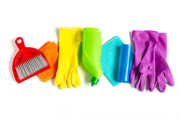 Cleaning products set of rainbow colors isolated on white.